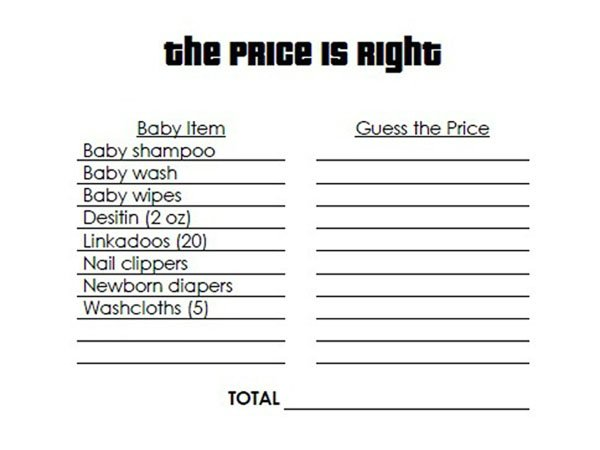 The Price Is Right Baby Shower Game Filled In