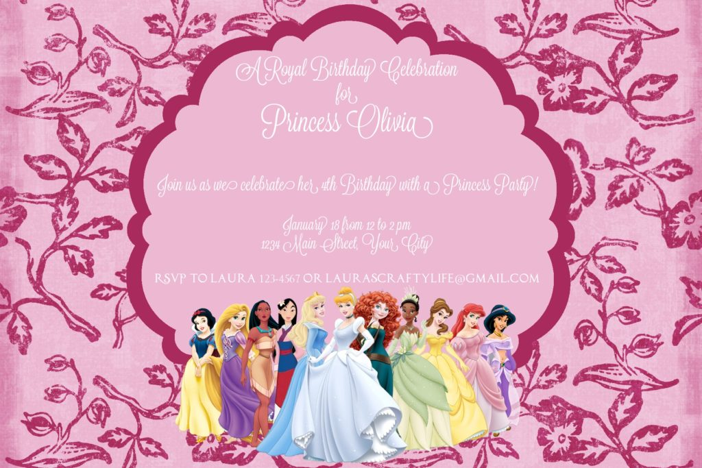 disney princess party invitation - laura's crafty life, Birthday invitations
