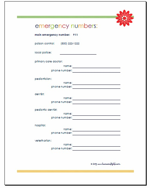 Home Management Binder Planning and Contacts Lauras Crafty Life – Emergency Phone Number List Template