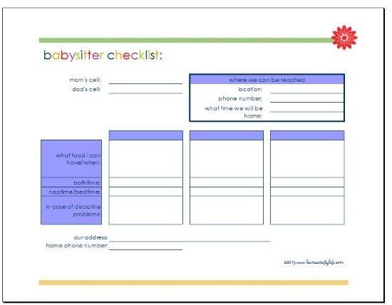 babysitter checklist